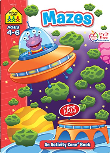 School Zone - Mazes Deluxe Edition Activity Zone Workbook, Ages 4 to 6, Patience, Focus, Attention to Detail, Problem-Solving, and -