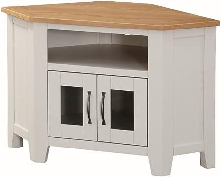 Edmonton roble lacado mueble de esquina para televisor con 2 puertas de cristal – madera de roble