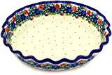 Polish Pottery Fluted Pie Dish 10-inch made by Ceramika Artystyczna (Garden Party - Polish Wreath Theme)