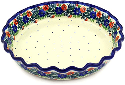 Polish Pottery Fluted Pie Dish 10-inch made by Ceramika Artystyczna (Garden Party - Polish Wreath Theme) by Polmedia Polish Pottery
