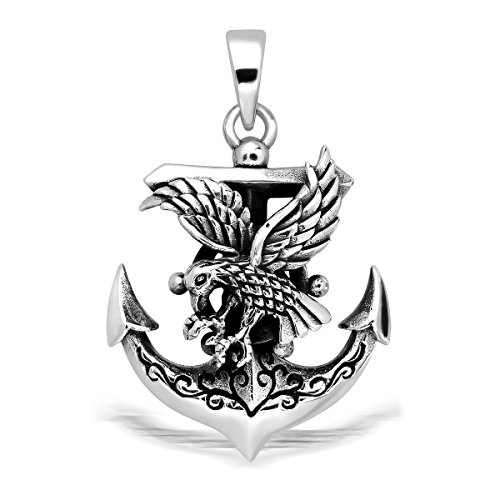 Charm Sterling Solid Silver Eagle (WithLoveSilver Solid 925 Sterling Silver Charm Oxidize Eagle Mariner Anchor Pendant)