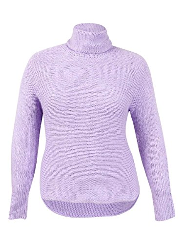 Women's Dolman Funnel-Neck Sweater (1X, Powder Purple) (Cashmere Funnel Neck Sweater)
