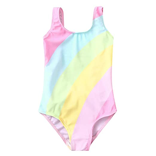 6a01825ef3 Amazon.com: Baby Girl Rainbow Striped Swimsuit Infant Toddler Bowknot  One-Piece Bathing Suit Swimwear Rompers Kids Beach Clothes: Clothing