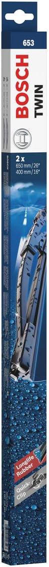 Escobilla limpiaparabrisas Bosch Twin 653, Longitud: 650mm/400mm – 1 juego para el parabrisas (frontal)
