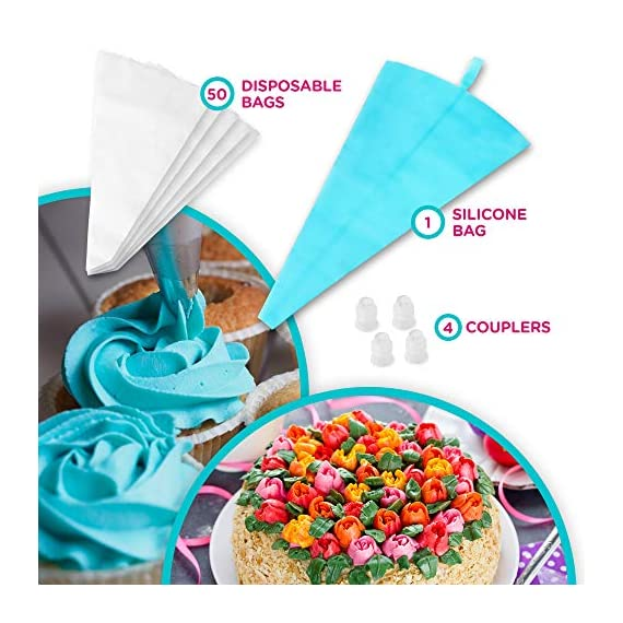 135-Piece Premium Cake Decorating Supplies Kit - Includes Cake Turntable Stand, 55 Numbered Icing Tips, 4 Piping Couplers, 1 Silicone Pastry Bag, 50 Disposable Pastry Bags & Many More Decorating Tools 7 ✔ LARGE ULTIMATE CAKE DECORATING KIT: KuchePro offers the largest cake decorating supplies set you can buy with a whopping 135 pieces. Whether you a casual weekend cake baker or a professional with your own TV show, our set has everything you will need. We want to provide you with all the essential top-quality cake decorating tools at a great value. ✔ OUR CAKE DECORATING SUPPLIES SET HAS IT ALL: Here's what you will get in our premium cake decorating kit- 1 Cake Turntable with Non-Slip Silicone Base, 55 Numbered Icing Tips, 4 Icing Bag Couplers, 1 Reusable Silicone Pastry Bag, 50 Disposable Pastry Bags, 1 Cake Leveler with Two Strings, 1 Cake Writing Pen, 1 Cake Smoother, 1 Icing Tip Cleaning Brush, 2 Cake Flower Nails, 1 Cake Flower Lifter, 3 Frosting Scrapers, 2 Cake Decorating Spatulas, 12 Silicone Pastry Bag Ties. ✔ SAFE, HIGH-QUALITY MATERIALS: The KuchePro 135-Piece Cake Decorating Supplies Kit are made from 100% food grade quality materials that are built to last so you can create beautiful looking cakes for years and years. BPA free silicone tools, non-toxic plastics, and all cake decorating tools and accessories are dishwasher safe.