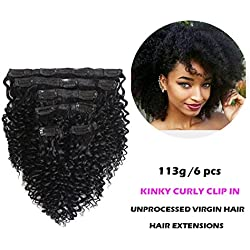 "FASHION QUEEN Hair Afro Kinky Curly Clip In Human Hair Extension Virgin Mongolian Human Hair 12"" Clip In Hair For Black Women 6 Pcs/Set (113g, #1 Jet Black)"