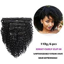 "FASHION QUEEN Hair Afro Kinky Curly Clip In Human Hair Extension Virgin Mongolian Human Hair 12"" Clip In Hair For Black Women 6 Pcs/Set (113g, #1 Jet Black)"