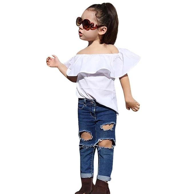 2PCS Bebé hombro camiseta +rotos Denim pantalones ropa ...
