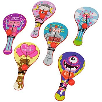 Valentines Day Mini Paddle Ball (12 count), Great for prize boxes, goodie bags, and party favors