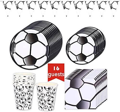 Soccer Party Supplies Sports Themed Pack Children's Birthday Party Supply Set 16 Guests/ 65 Pieces Tablecloth(Cups Plates Napkins Pennant Hat Banner)