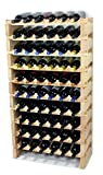 Modular Wine Rack Pine Wood 24-72 Bottle Capacity Storage 6 Bottles Across up to 12 Rows Stackable Newest Improved Model (60 Bottles - 10 Rows)