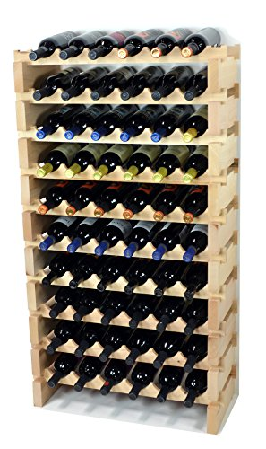 Modular Wine Rack Beechwood 24-72 Bottle Capacity 6 Bottles Across up to 12 Rows Newest Improved Model (60 Bottles - 10 Rows) by sfDisplay.com,LLC.
