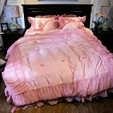 Beauty feather french romantic minimalist suite european and american luxury four-piece lace bedding-A Queen1