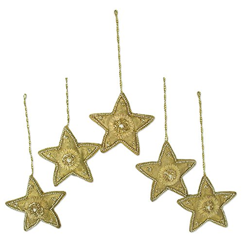 NOVICA Hand Christmas Holiday Dazzling Stars' (Set of 5) Beaded Ornaments