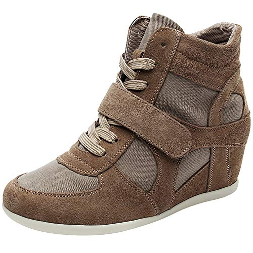 (rismart Women's Wedge Casual Hook&Loop Fabric&Suede Leather Fashion Sneakers(Khaki,US6.5))