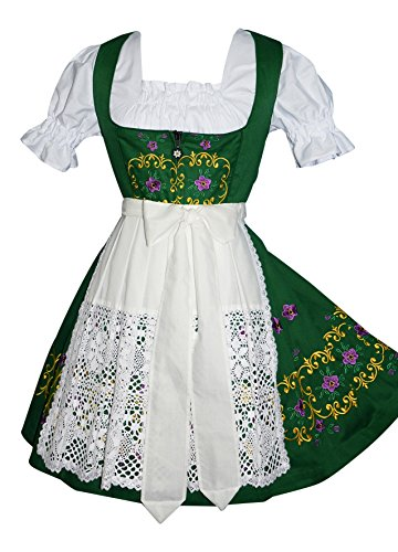 Dirndl Trachten Haus 3-Piece Short German Party Oktoberfest Waitress Dress (10) by Dirndl Trachten Haus