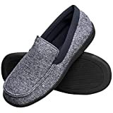 Hanes Men's Slippers House Shoes Moccasin Comfort Memory Foam Indoor Outdoor Fresh IQ (Medium (8-9), Navy)
