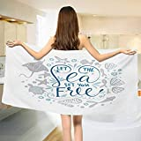 Nautical,Bath Towel,Let The Sea Set You Free Quote with Shellfish Turtle and Stingray,Bathroom Towels,Pearl Navy Blue Pale Blue Size: W 27.5'' x L 55''