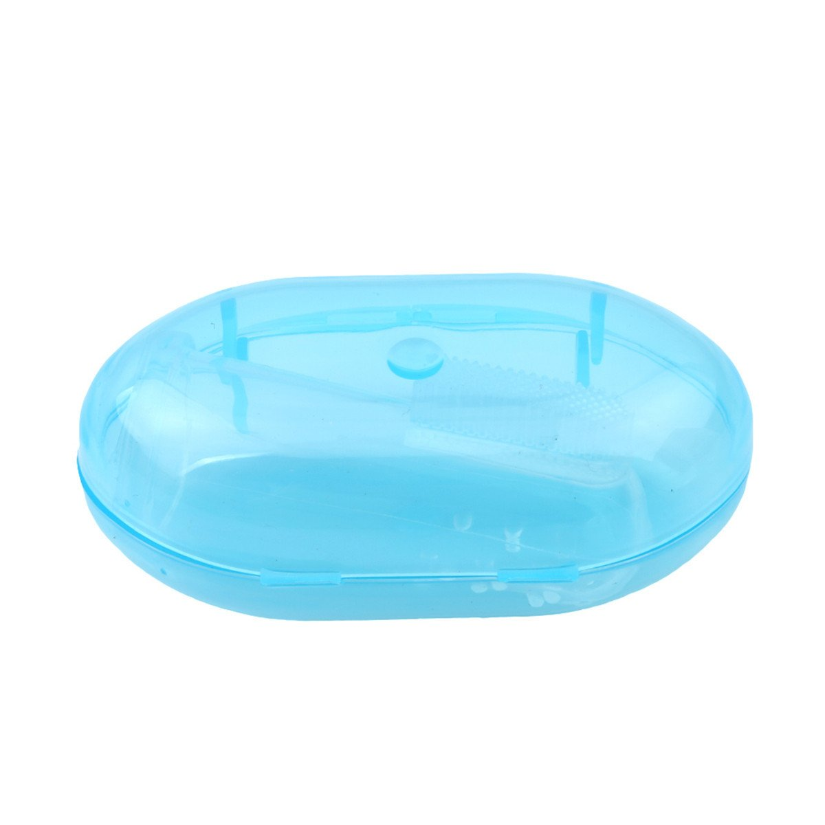 Edtoy Soft Silicone Baby Finger Toothbrush Teeth Rubber Massager (Blue)