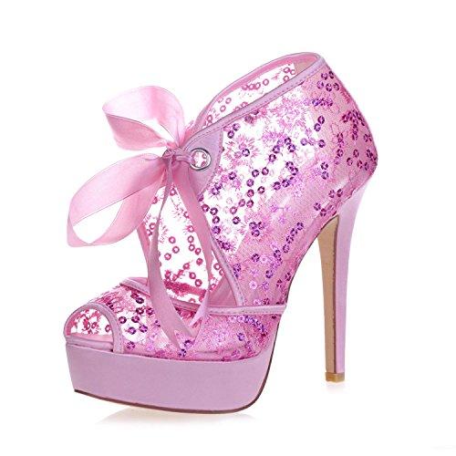 L@YC 3128-34 Plataforma De Encaje De Tacones altos De Las Mujeres Peeking Punta De La Bomba De Encaje Zapatos De La Boda De La Corte Pink