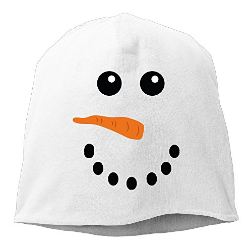 Funny Snowman Face Unisex Knit Hat Soft Stretch Beanies Skull Cap Hedging Cap White