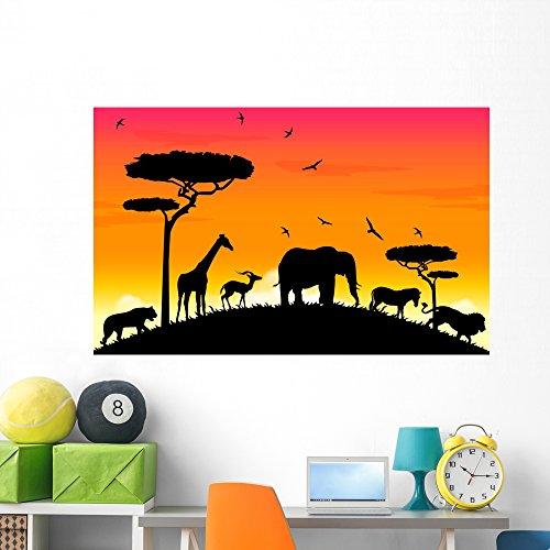 Wallmonkeys Safari Acacia Animal Wall Mural Peel and Stick Graphic (60 in W x 42 in H) -