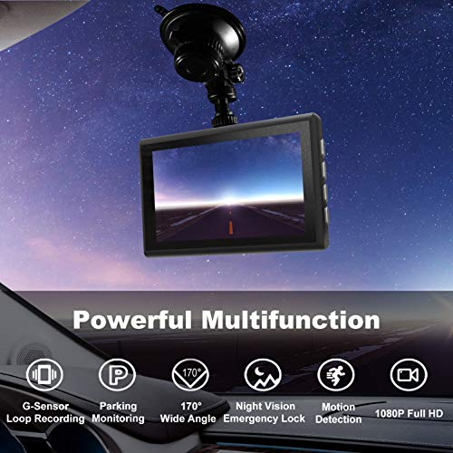 Dash Cam 1080P FHD 3 Inch IPS Screen Metal Shell Dash Camera for Cars,Car DVR Dashboard Recorder Super Night Vision,170 Wide Angle,WDR,G-Sensor,Loop Recording,Motion Detection,Parking Monitor