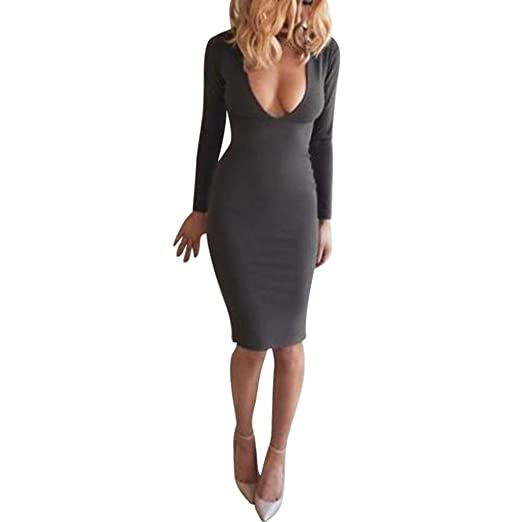c4b84bd7325c Image Unavailable. Image not available for. Color  Kangma Women Spring Slim  Long Sleeve Bodycon V-Neck Low-Cut Casual Party Pencil