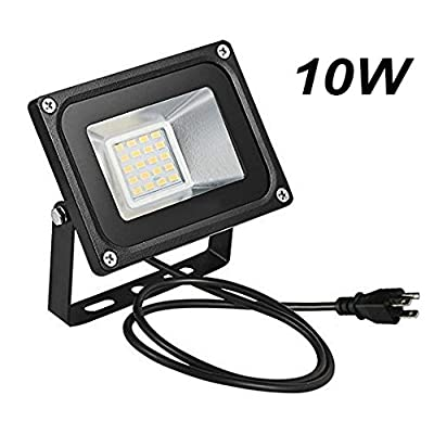 Missbee 10w LED Flood Light 1100ml Outdoor Security Light with US 3-Plug, 2.95feet Cord, 2800-3000lm, Warm White, IP65 Waterproof, Instant On, Super Bright to Garage, Advertising[Added Plug] : Garden & Outdoor