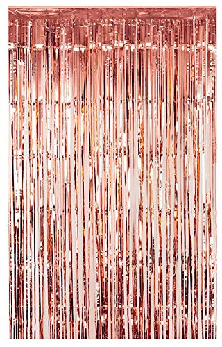 FECEDY 3ft x 8.3ft Rose Gold Metallic Tinsel Foil Fringe Curtains for Party Decorations (1 Pack)
