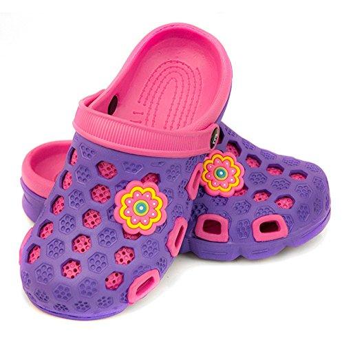 AQUA-SPEED Hawaii Kinder Badeschuhe / Clogs - sehr leicht Violett/Pink