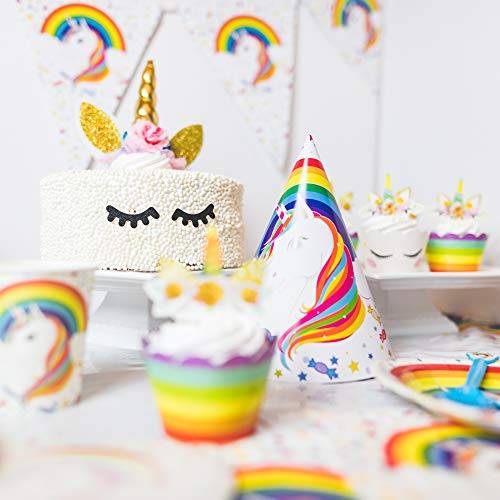 188-Pc Complete Rainbow Unicorn Birthday Party Supplies for 12 Guests - Tableware and Decorations - Mylar Balloon Set + Cake & Cupcake Toppers + Tablecloth & Banner + Party Bags, Invitations & Hats]()