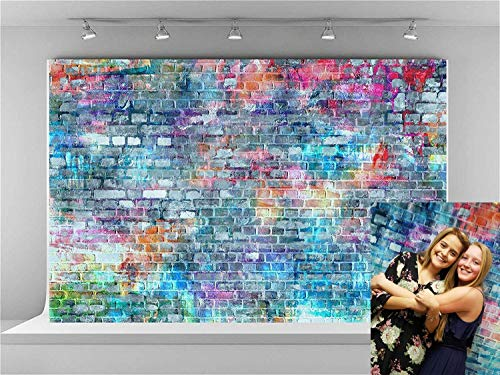 Kate 7x5ft Brick Wall Photography Backdrops Colorful Painting Graffiti Backdrop