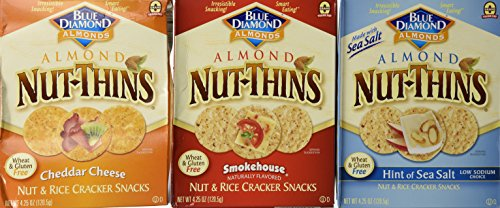 Blue Diamond Wheat & Gluten Free Nut & Rice Crackers 3 Flavor Variety Bundle: (1) Cheddar Cheese (1) Hint Of Sea Salt (1)Smokehouse - 4.25 Oz Each ()