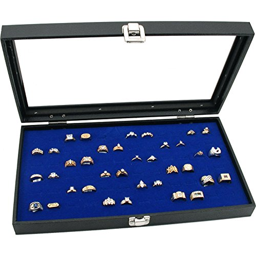 Display Case 72 Blue Ring - FindingKing Jewelry Box Display Case 72 Slot Royal Blue Ring Insert New