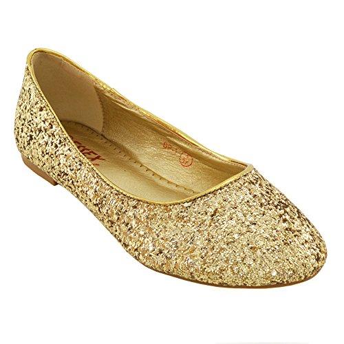 ESSEX GLAM Scarpa Donna Glitter Tacco Piatto Matrimonio Festa BP-1 NEW