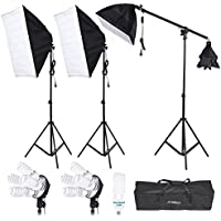 Andoer Studio Lighting Portrait Product Softbox Light Tent Kit with Softbox, 4in1 bulbs socket, 45W/135W Light Daylight Bulbs, 200cm Light Stand and Carry Case