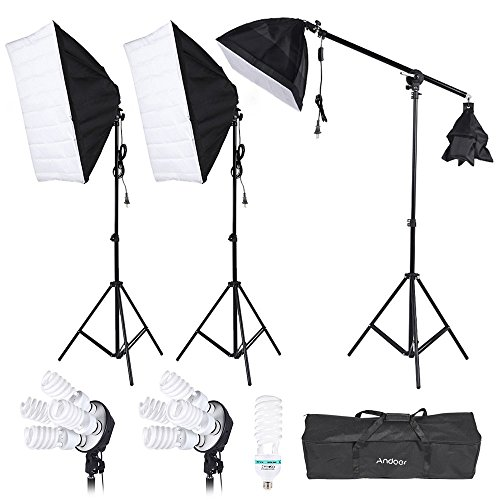 - Andoer Studio Lighting Portrait Product Softbox Light Tent Kit with Softbox, 4in1 bulbs socket, 45W/135W Light Daylight Bulbs, 200cm Light Stand and Carry Case