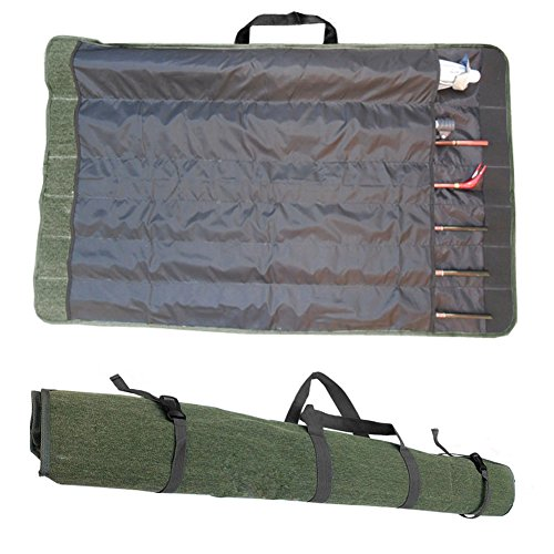 Cheap A.B Crew Roll Up Canvas Fishing Rod Case Organizer Travel Carry Bag Holds 12 Poles & 2 Fishing Umbrellas