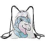 Ibeauti Mermaid Sequins Unicorn Drawstring Backpack Sports Dance Bag for Girls Boys Women Beach Camping Travel Bags (Blue Unicorn)