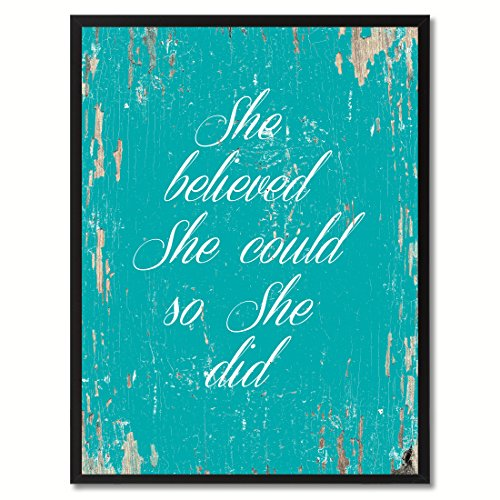(SpotColorArt She She Believe She Could So She Did Framed Canvas Art, 7