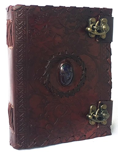Handmade Embossed Blue Stone Leather Journal Notebook Refillable Sketchbook with 2 Latches, Lace Edging Diary By Cuero - Leather Latch
