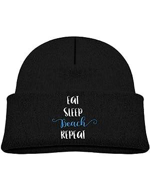 Funny Eat Sleep Beach Repeat Printed Teething Baby Winter Hat Beanie