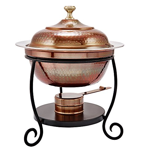 Round Copper Chafing Dish - Old Dutch 838 Round Antique Copper Chafing Dish, 1-3/4-Quart, 10 by 12-1/4-Inch