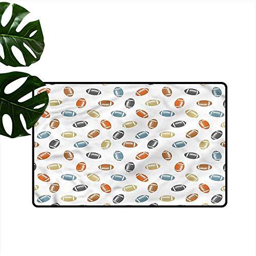 DUCKIL Interior Door mat Football Sports College Team Field Machine wash/Non-Slip W35 xL47 ()