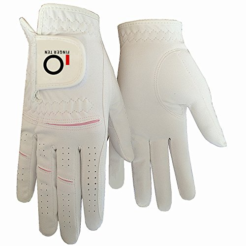 Pink Left Handed Golf Glove (Women Ladies Golf Glove Left Right Hand 2 Pack, Rain Wet Hot Cool Grip, Fit XS Small Medium Large XL, By Finger Ten (Medium, 2 Pack- Worn on Left Hand))