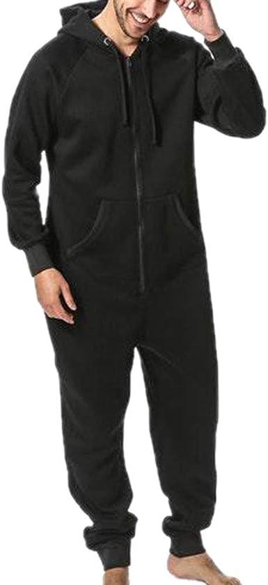 Kewing Caliente Polar Cremallera Frontal con Capucha Zip Up Mono Playsuit Homewear Hombre Pijamas: Amazon.es: Ropa y accesorios