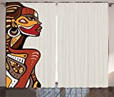 Ambesonne African Decorations Curtains, Profile of Sexy African Lady with Different Tattoos on Her Body and Face Stylish Print, Living Room Bedroom Decor, 2 Panel Set, 108 W X 90 L Inches, Multi