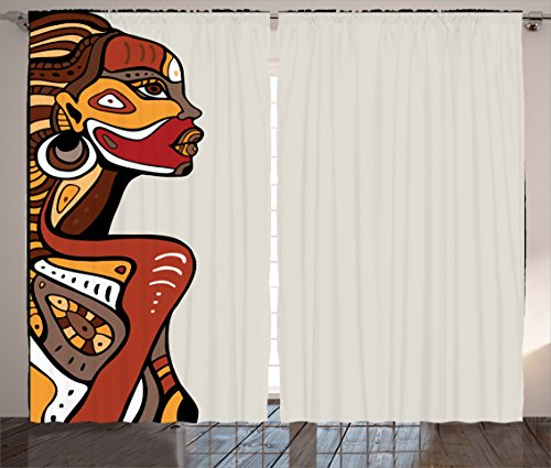 - Ambesonne African Curtains, Profile of a Lady with Different Tattoos on Her Body and Face Print Art Design, Living Room Bedroom Window Drapes 2 Panel Set, 108 W X 90 L Inches, Redwood