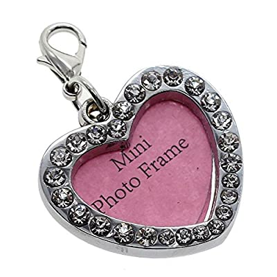 Crystal Bling Dog Cat Pet ID Name Tag Engraved Designers Stainless Steel - Shape: Heart